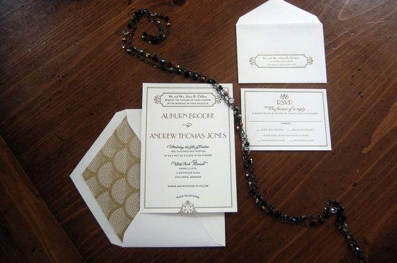 Letterpressed Wedding Invitations Gatsby by elfletterpress