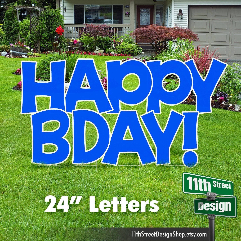 24 blue happy bday yard signs outdoor birthday party