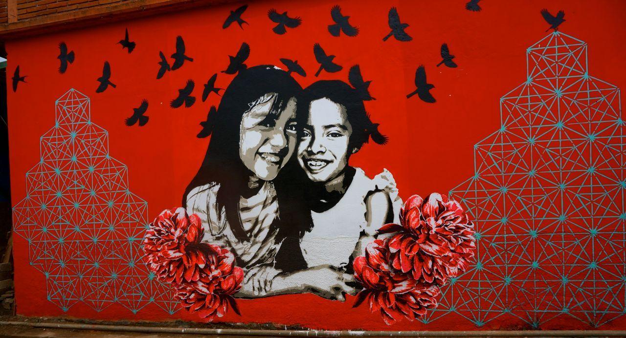 Mural realizado por jovenes de la comunidad de san andr s for Arte colectivo mural