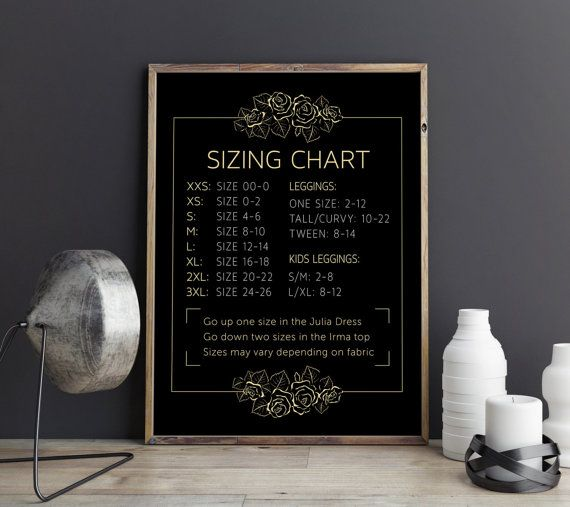 Elegant Sizing Chart, Instant Download, Home Office Approved, Gold