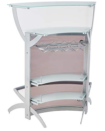 2-shelf Bar Unit with Glass Top Silver, Frosted and Smoke ...