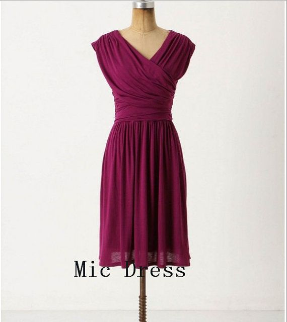 Vneck straps sleeveless midcalf chiffon pleated short by MicDress, $65.00 bridesmaid dress