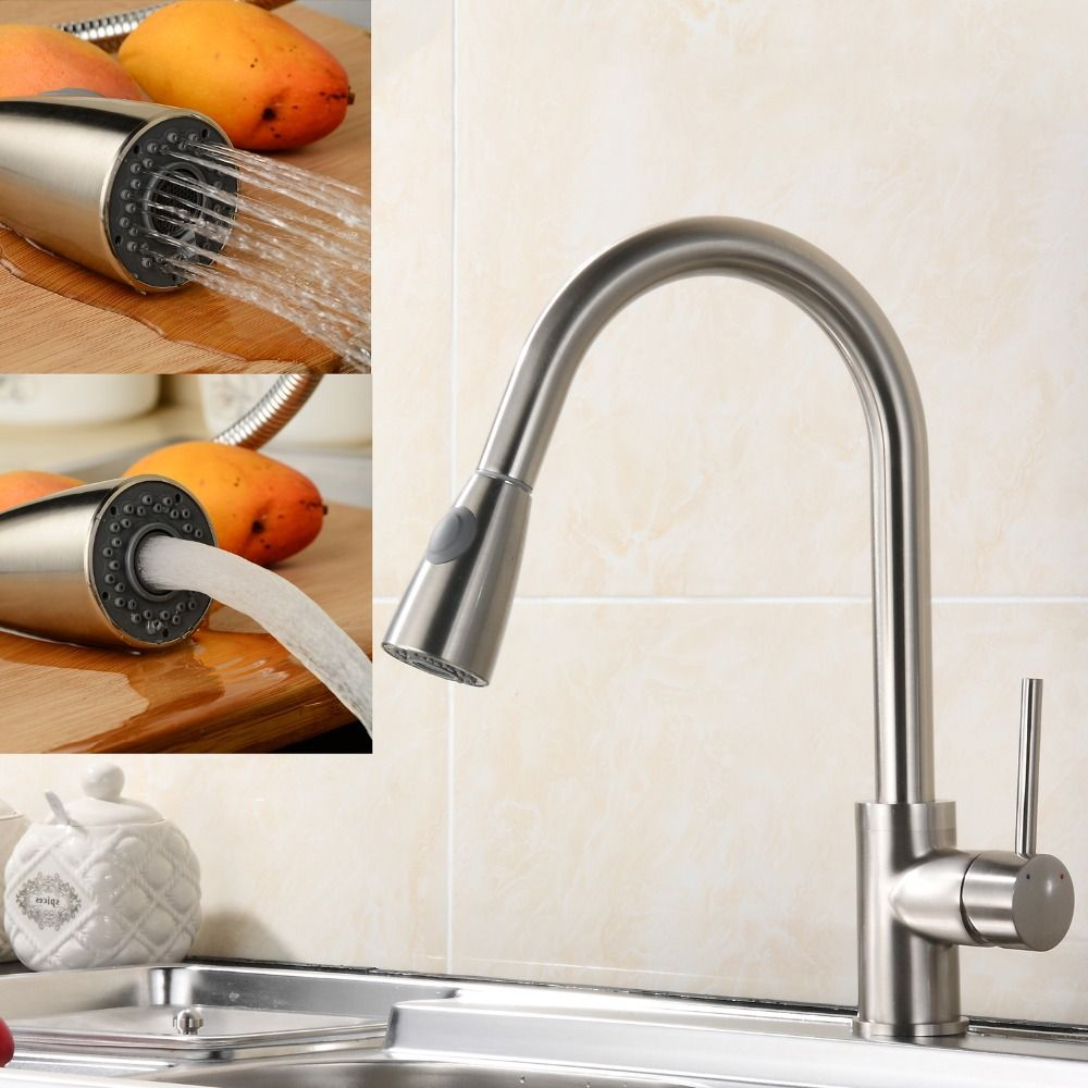 Brush Nickel 350 Mm Pipe Pull Out Kitchen Faucet360 Degree Swivel Best Discount Kitchen Faucets 2018