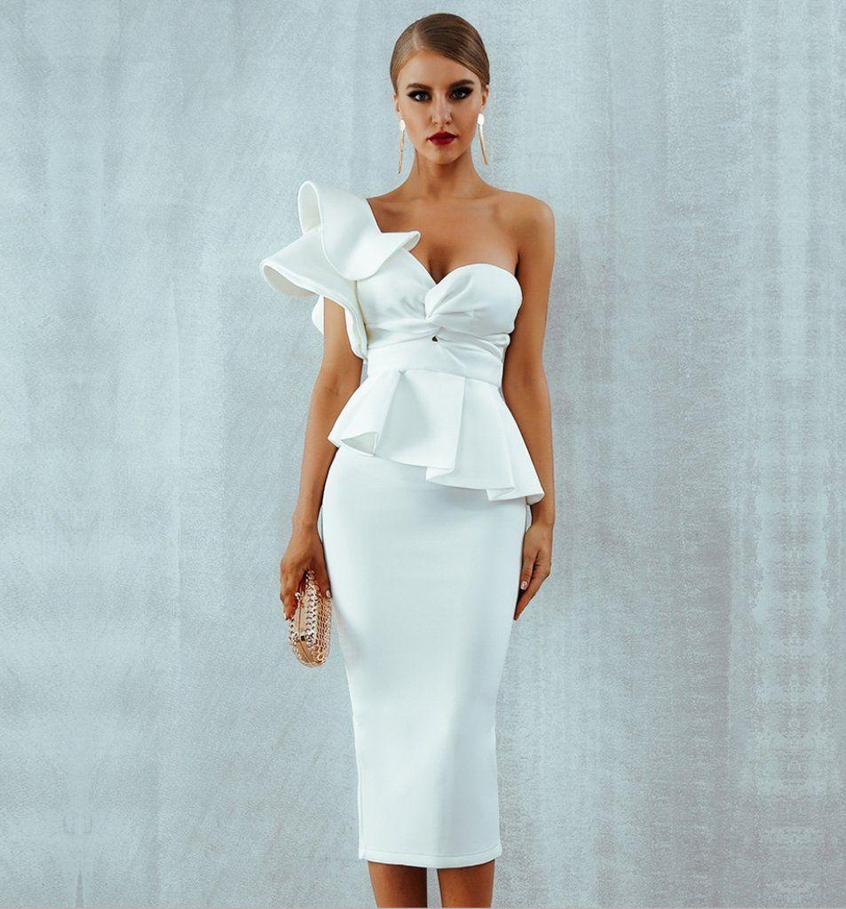 White Bridal Party Midi Vintage Ruffle Prom Homecoming Dress White Ruffle Dress Elegant Dresses For Women White Dress Party [ 1024 x 953 Pixel ]