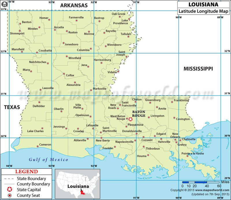 Louisiana latitude and longitude map louisiana pinterest lat latitude and longitude of louisiana is to and to use our louisiana lat long map to find coordinates anywhere in the state sciox Image collections