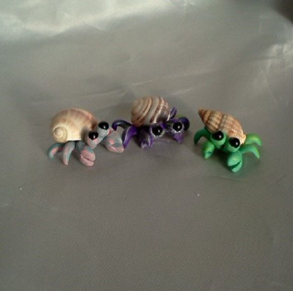 hermit crab trio custom made in pastel colors of polymer