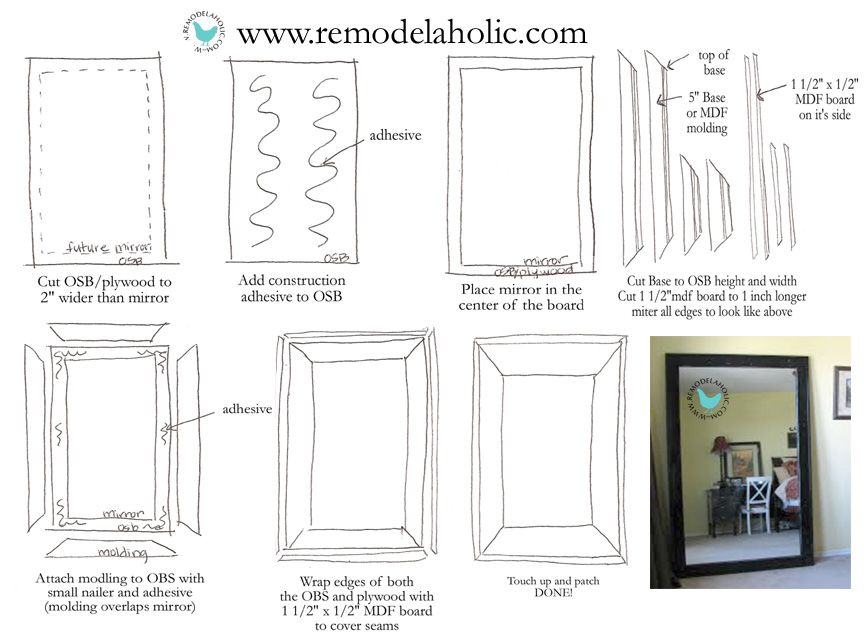 How to use a large double vanity mirror and turn it into a large framed How to use a large double vanity mirror and turn it into a large  . Mirror On A Stand Vanity. Home Design Ideas