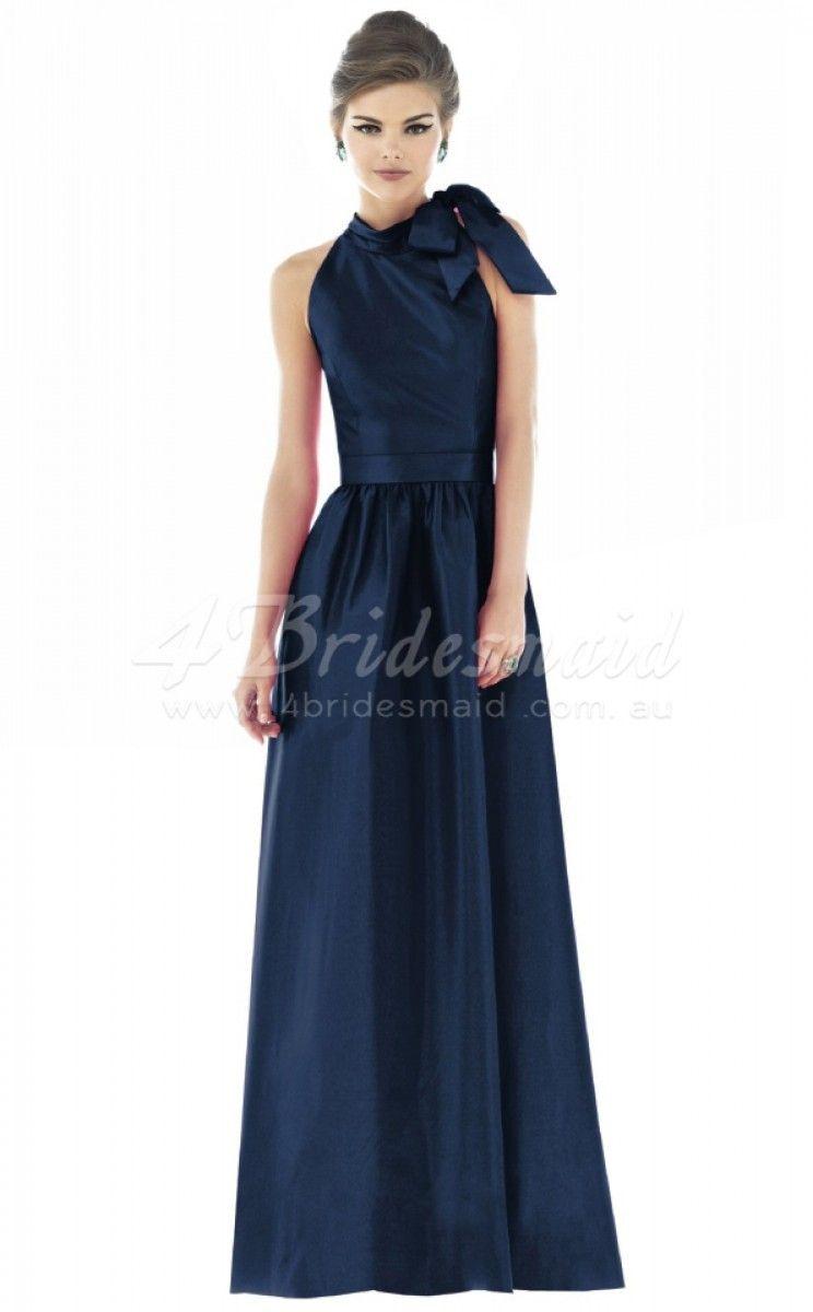 Aline halter satin long navy blue bridesmaid dressesbd