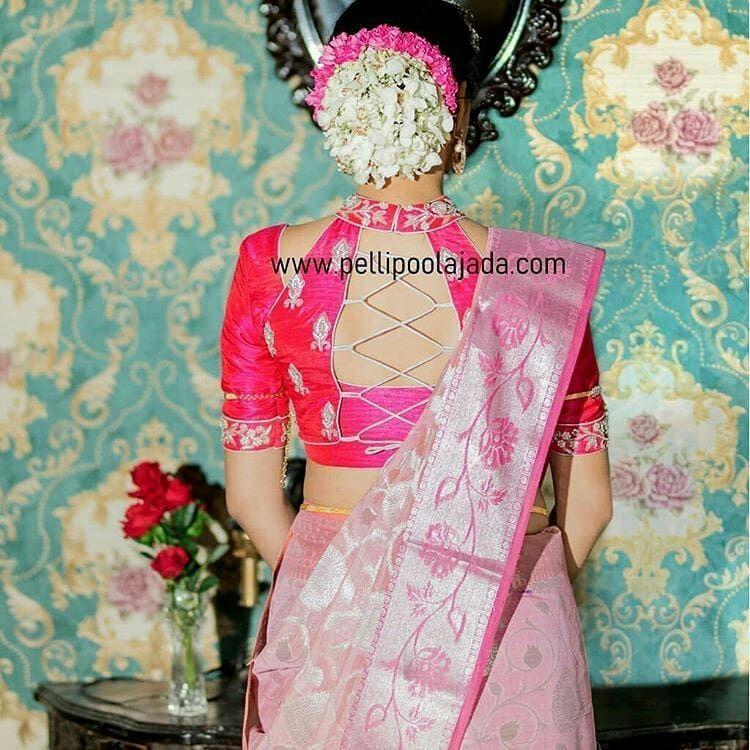Beautiful Blouse Back Design Inspi!! . . Blouse Courtesy @dhanyadream Flowers @pellipoolajada Designer Blouse Ideas . Tag