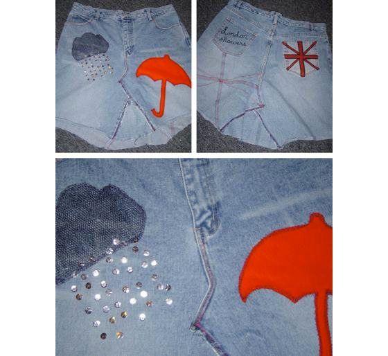 recycled denim blue jeans skirt - London Showers