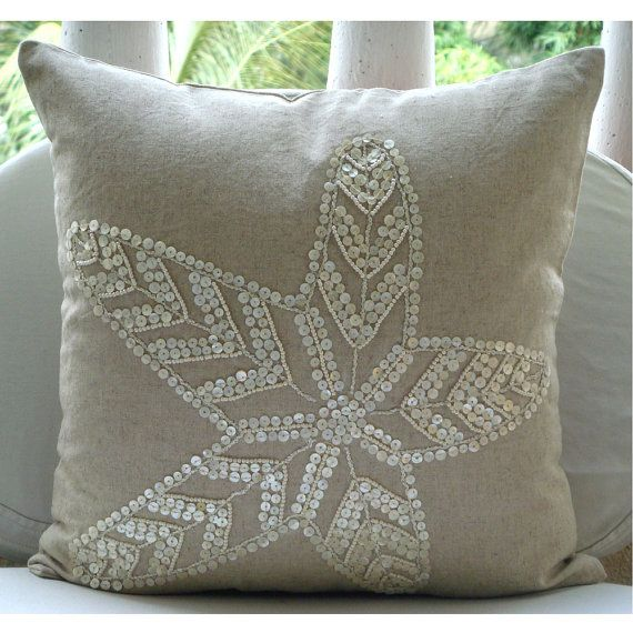Decorative Pillow With Pearls : Decorative Throw Pillow Covers Accent Couch Bed Pillows 16x16 Linen Pillows Mother Of Pearl ...