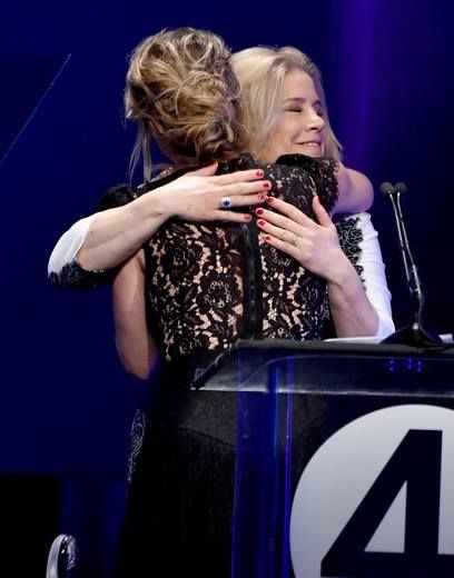 A special moment shared between our founder, Paige, & Christina Applegate after presenting her with our Love Cures Award.