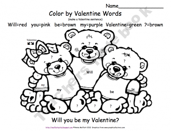 FREE! Valentine Color by Word (Sentence) Kids LOVE to
