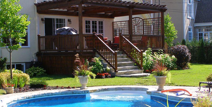 Am nagement paysager complet fa ade et arri re cour piscine creus e pav de b ton am nagement - Amenagement exterieur piscine creusee ...