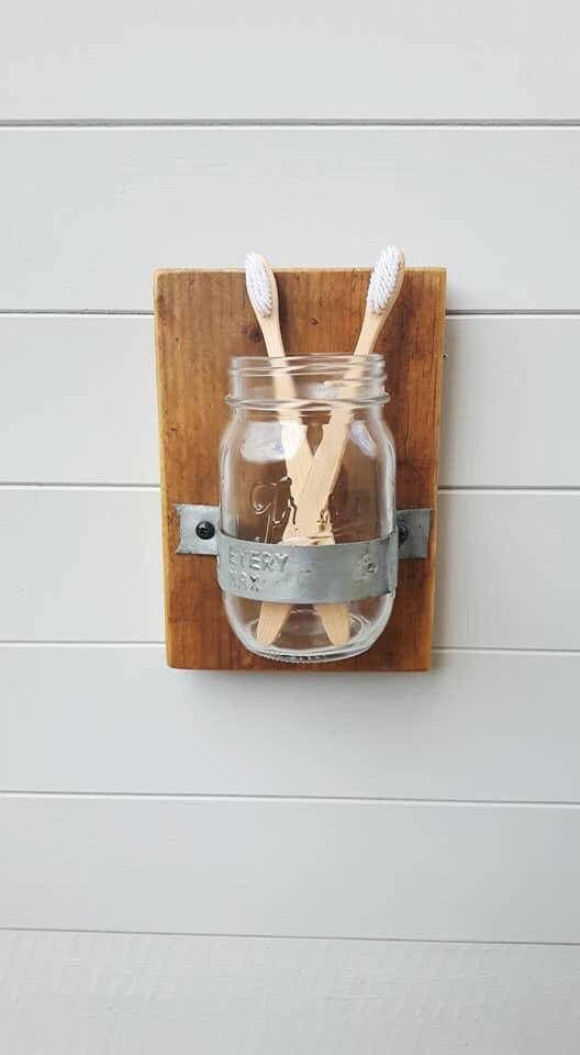 Toothbrush Holder   Reclaimed Wood   Bathroom Accessories   Rustic Wood    Wood And Metal