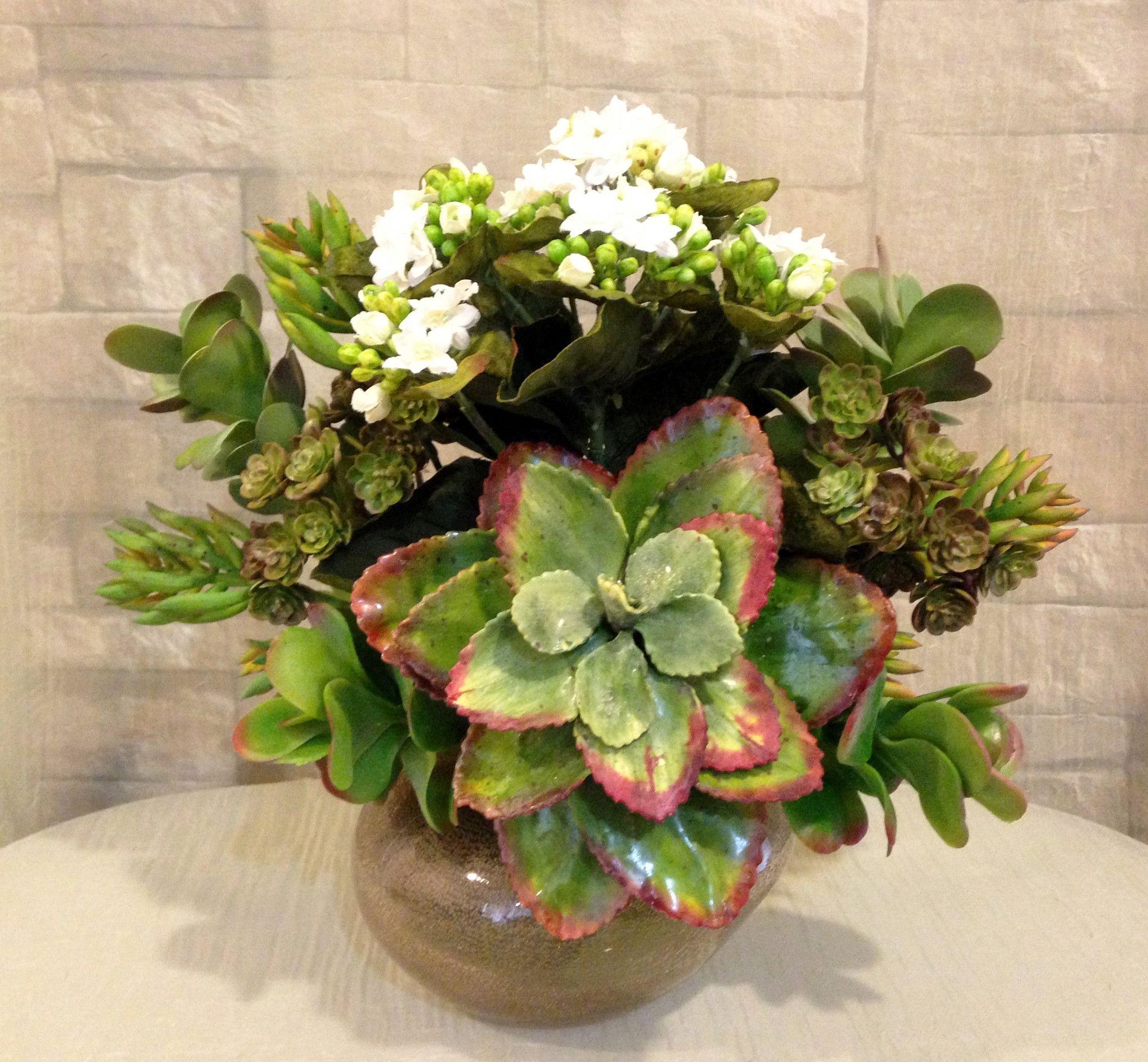Silks pothos desk top plant in pot amp reviews wayfair - Artificial Echeveria Plant Kalanchoe And Succulent Arrangement In Copper Parla Glass Vase