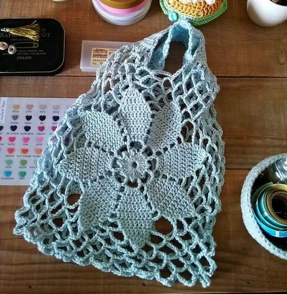 Patrón para tejer bolso a crochet en hilo de color marrón o blanca ...