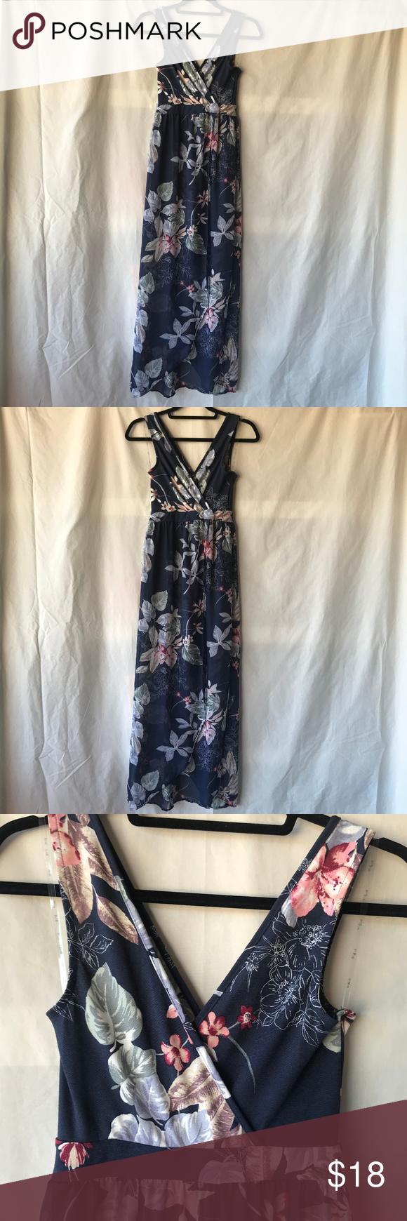70868e0435a Iris floral Maxi Dress with sheer Overlay Cute V neckline