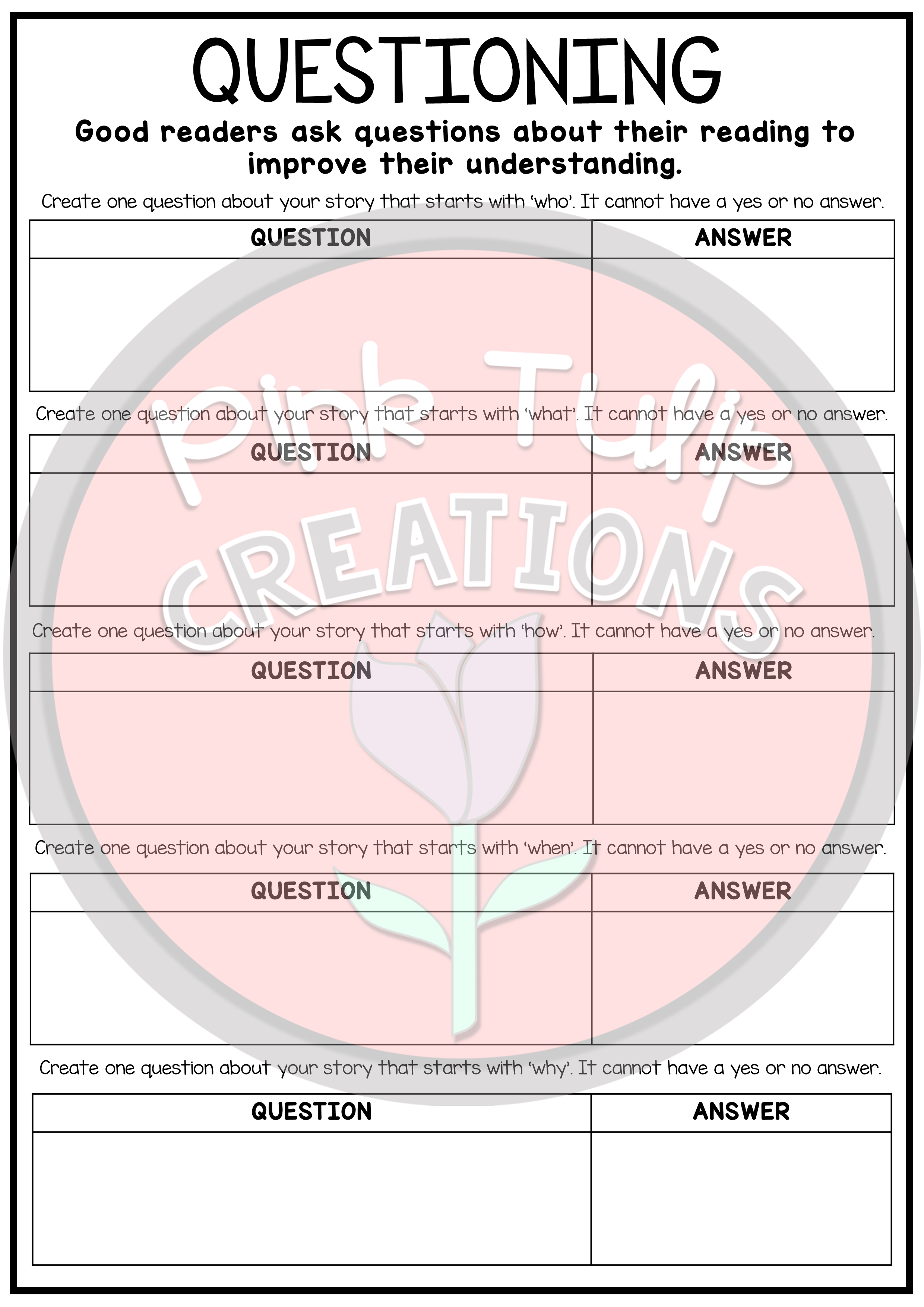 Reading Strategies Worksheets