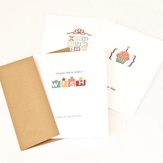 Birthday Card Set Minimalist Birthday Cards Contemporary Wishes