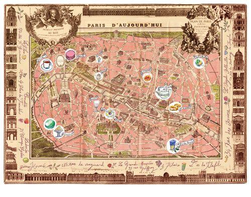 Delicious Places On A Vintage Paris Map Poster 11x14 Illustration: Vintage Paris Map Poster At Infoasik.co