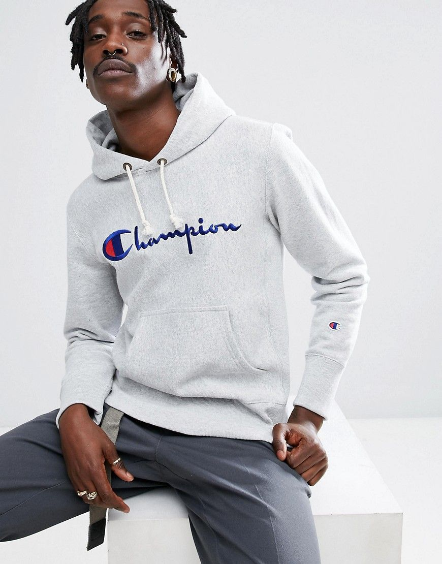 Champion Hoodie With Script Logo In Gray Gray Hoodies Champion Hoodie Script Logo [ 1110 x 870 Pixel ]