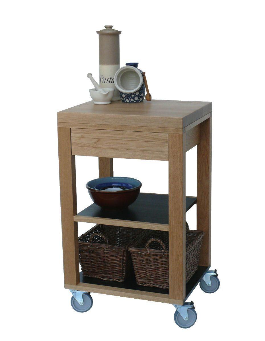 Solid Oak Kitchen Trolley Butchers Block Cart Storage