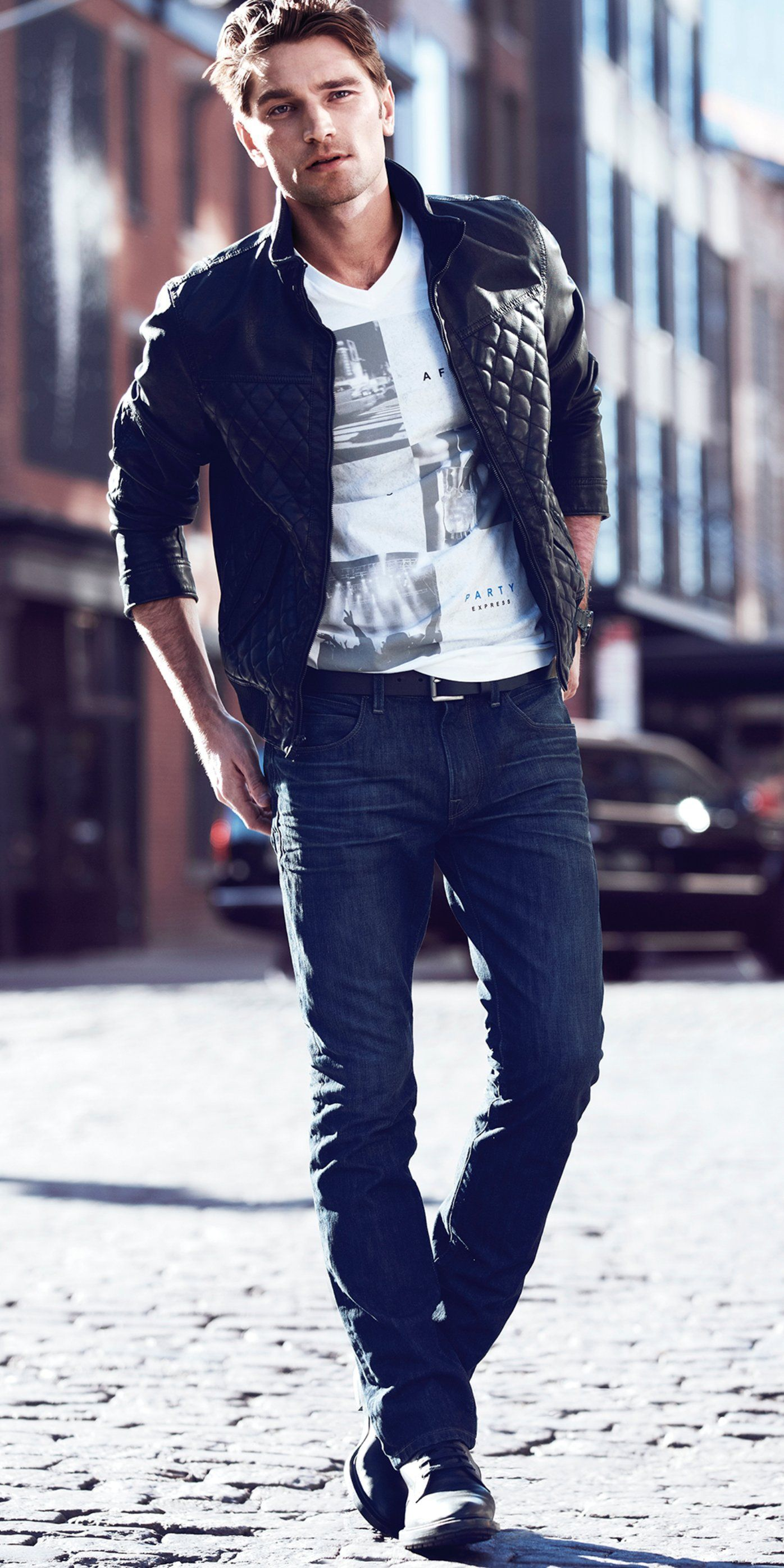 Quilted Bomber Jacket and Rocco Jeans. #express #mensfashion