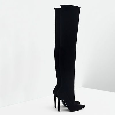 ZARA OVER THE KNEE HIGH HEEL LEATHER POINTED TOE BOOTS Ref