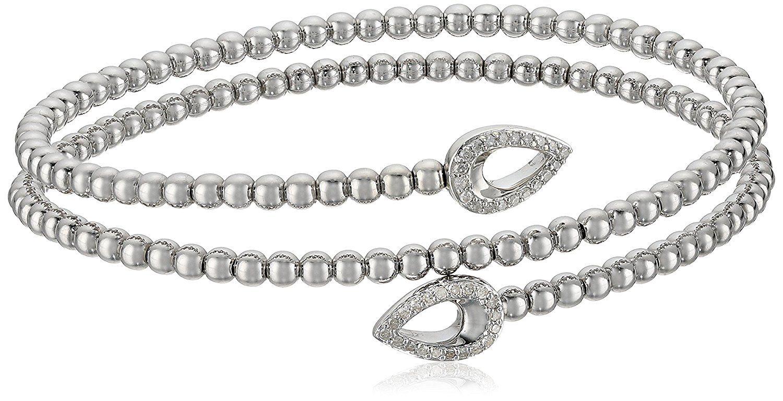 Sterling silver coil bead pear design diamond wrap bracelet cttw