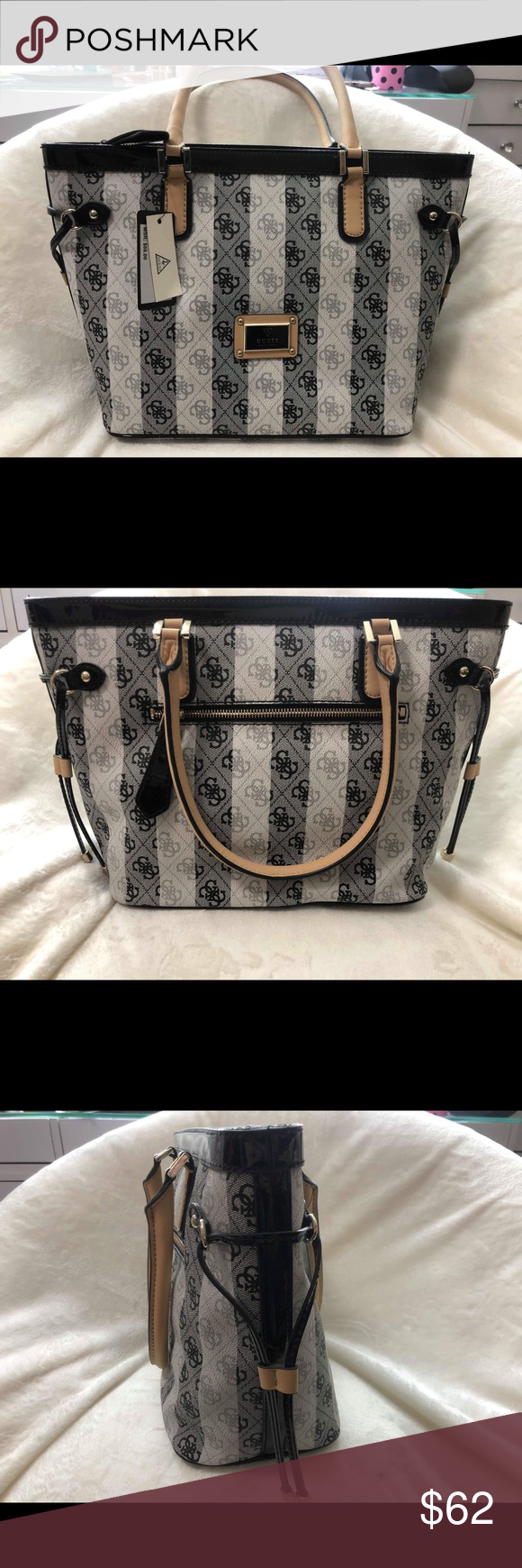 d4fe26a7ff NWT  Guess Satchel - B W Striped Handbag Purse NEVER WORN USED