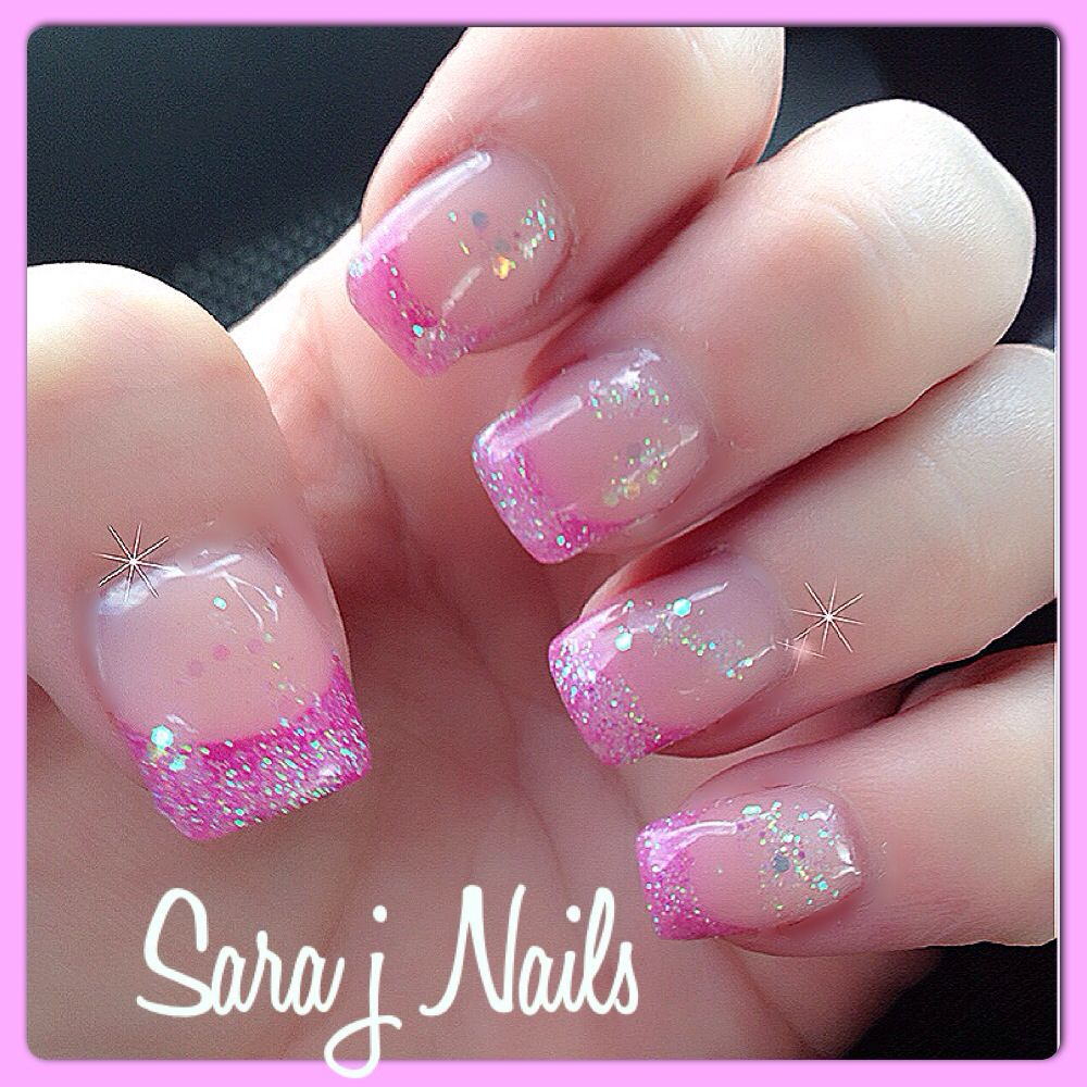 Pretty Pink Glitter Acrylic Nail Design Nails By Me Pinterest