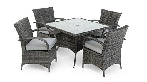 Texas Dallas 4 Seat Square Rattan Garden Furniture Set - Grey 2 tone mixed