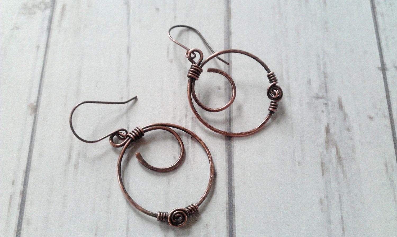 Hoop earrings, copper hoop earrings, wire wrapped earrings, rose ...