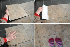 Installing-Groutable-Vinyl-Tile - an inexpensive solution to cover an old floor you can do yourself. #restroomremodel