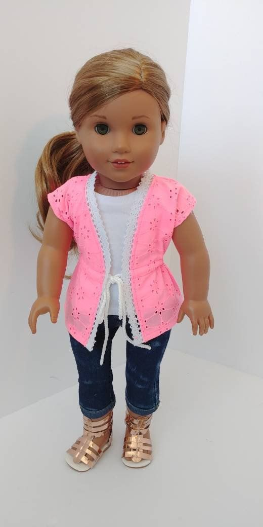 18 inch doll clothes. Fits like american girl doll clothes. 18 inch doll clothing. Bright pink cover up #girldollclothes