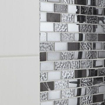 Mosaique Fusion Neo Futurisme Artens Noir Et Chrome 2 3x4 8 Cm Sol Et Mur Carrelage Salle De Bain Sol