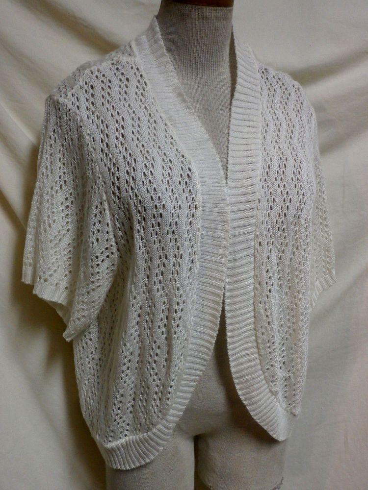 4e0860bda477 Faded Glory EUC Plus Size Ivory Open Front Sweater Shrug 4X ...