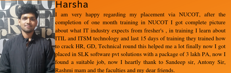 Harsha, one of our trainee got placed as a Software