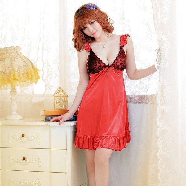 Retail Wholesale Charm Sexy Ladies Faux Silk Babydoll Nightdress+ G-String Sleepwear Lingerie Good Quality