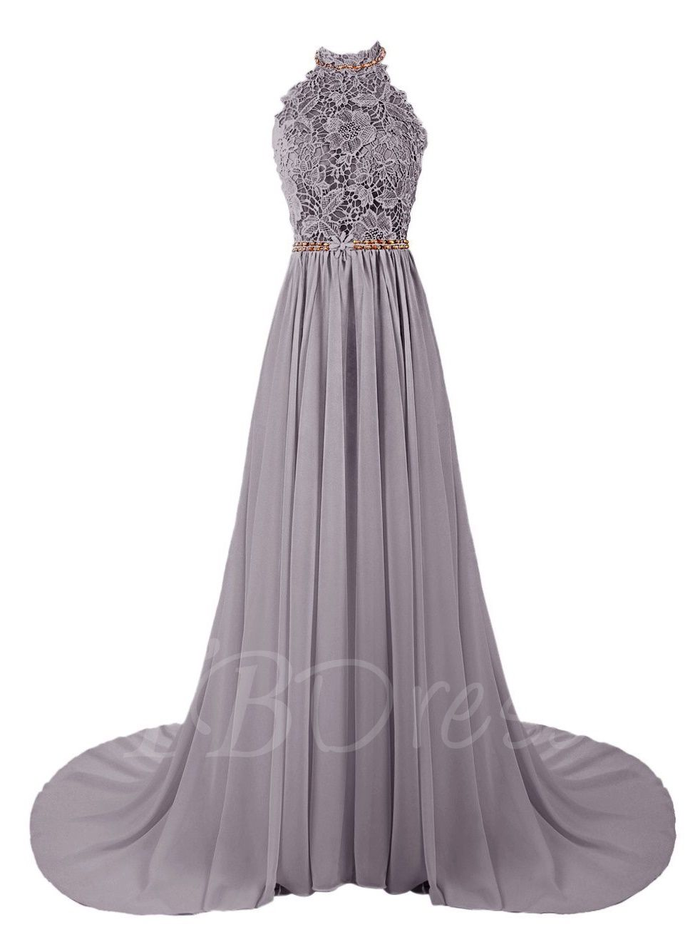 Aline halter beading lace court train prom dress happily ever