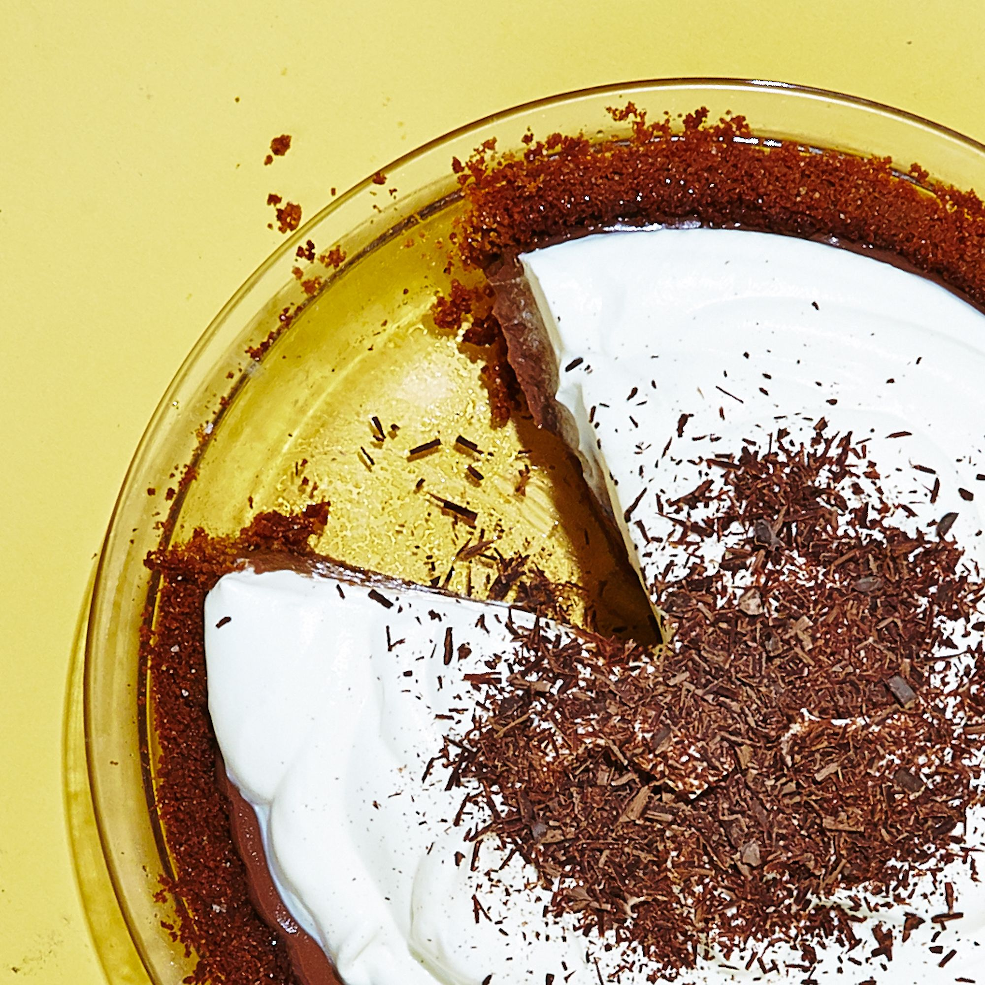Gingersnaps add an unexpected zing and are a great foil to the richness of this chocolatey pie. Sub in gluten-free graham crackers if you prefer.