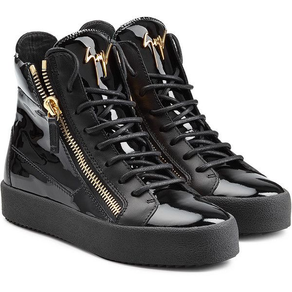 a291b02ba23ee Giuseppe Zanotti Patent Leather High-Top Sneakers ($510) ❤ liked on  Polyvore featuring shoes, sneakers, chaussure, black, black hi tops, lace  up high top ...