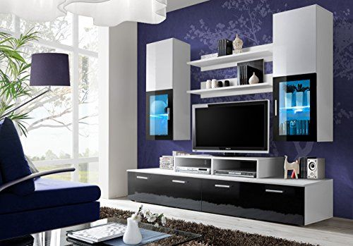 bmf mini style wohnwand anbauwand wohnzimmer schlafzimmer studio set flach m bel led. Black Bedroom Furniture Sets. Home Design Ideas