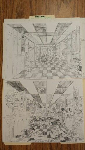 5th grade perspective  Hallway drawing - looking forward to Middle