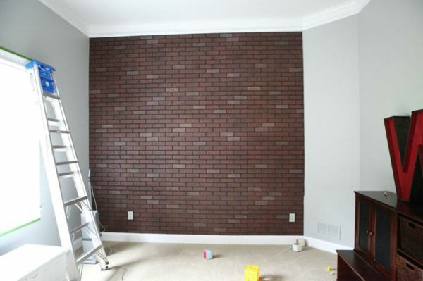 Bon Backsteinwand Imitat Wanddeko Selber Machen Ziegelwand Wandgestaltung