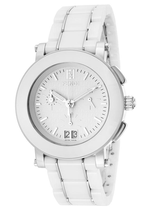 Fendi F662140 Watches Women S Chronograph White Dial White Ceramic And Stainless Steel Women S Fendi Quartz Watches Diamond Watches Women Quartz Watch Fendi