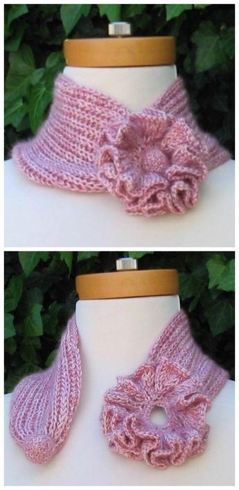Self Fastening Flower Scarf Free Knitting Pattern Knitting