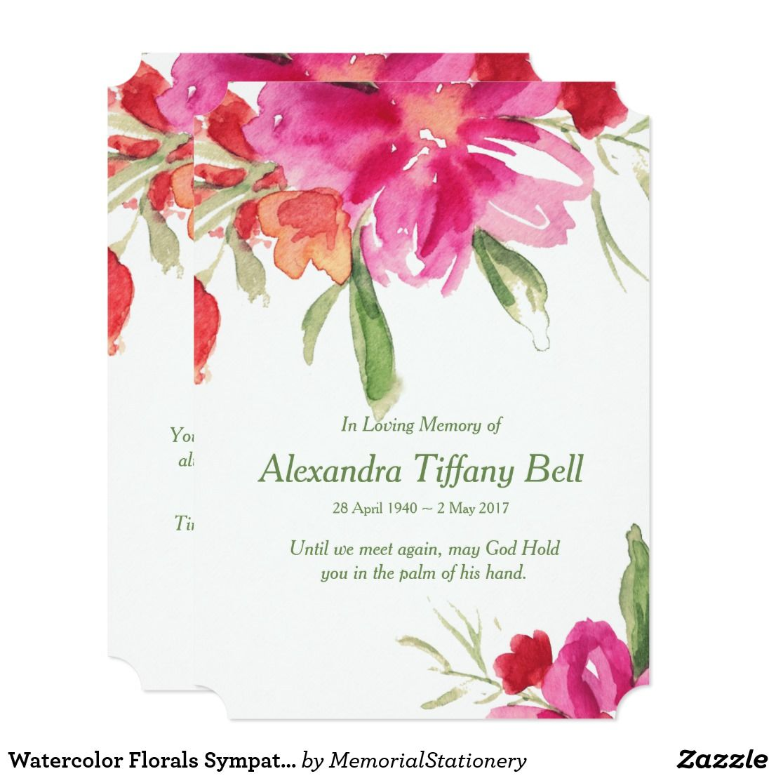 Funeral Thank You Cards Watercolor Florals Note Zazzle Com