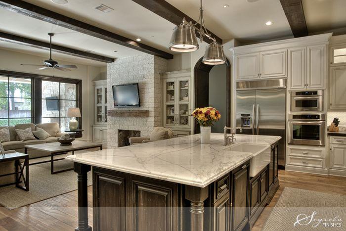 Monochromatic scheme white carrera island cabinet for Open plan kitchen with island